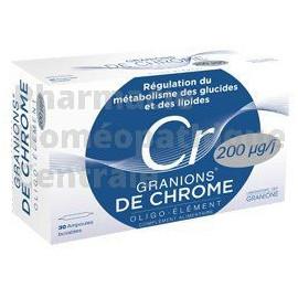 Les ampoules de Granions de chrome 200 µg participent au contrôle de la glycémie et à l'amélioration du profil lipidique