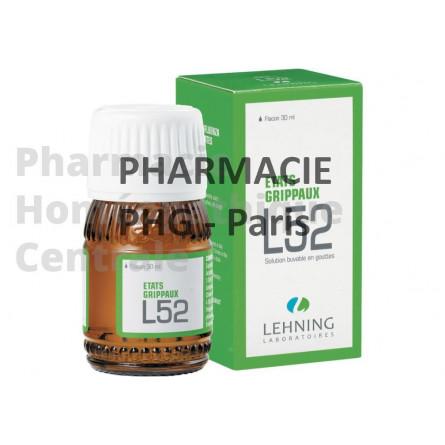 LEHNING L52 pour les états grippaux, les courbatures fébriles, les toux non productives et l'asthénie post-grippale.