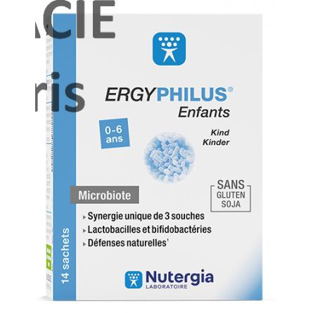 ERGYPHILUS® Enfants est un complément alimentaire constitué de 3 souches vivantes de probiotiques