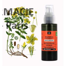 L'huile végétale de millepertuis bio (Hypericum perforatum) est anti-inflammatoire, décongestionnante, cicatrisante
