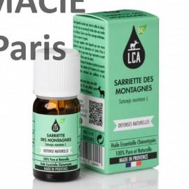 Huile essentielle bio de sarriette des montagnes en cas de bronchite, sinusite, cystite.
